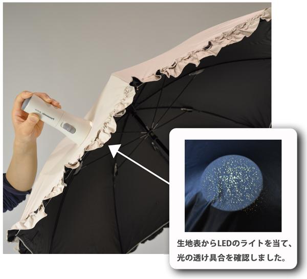 完全遮光日傘 LEDライト検証